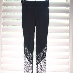 White and black legging workout pants